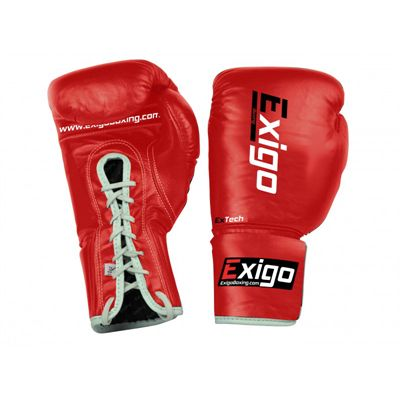 Exigo Boxing Pro Fight Leather Contest Gloves Red