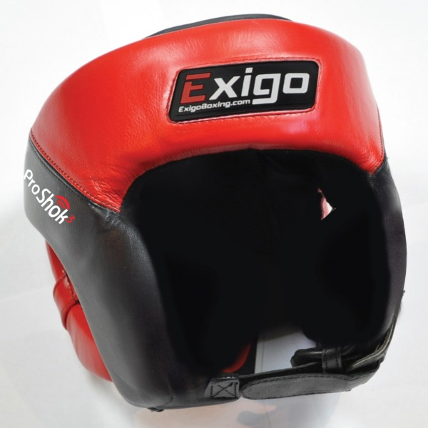 Exigo Boxing Pro Open Face Head Guard - Red/Black, L/XL