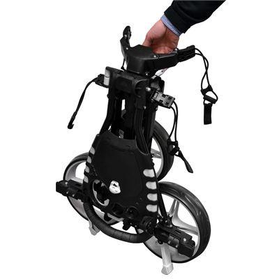 Fast Fold Flat Golf Trolley - Black - Folded - Side
