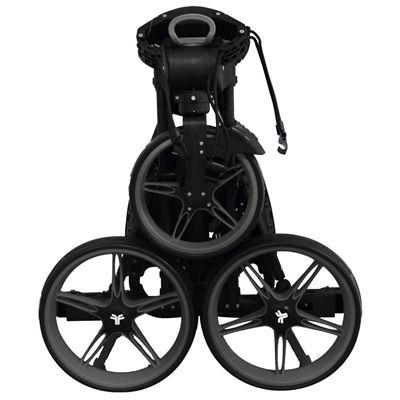 Fast Fold Flat Golf Trolley - Black - Folded