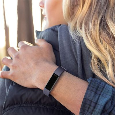 Fitbit Alta HR and Alta Large Leather Accessory Band - Indigo - Angled - Lifestyle