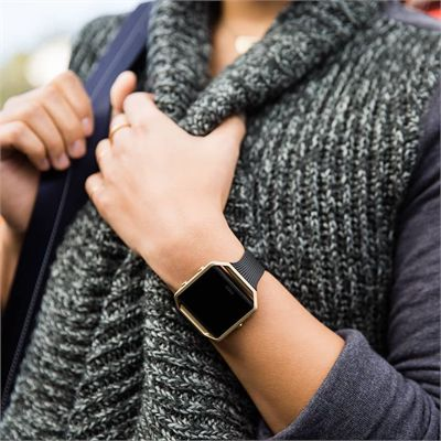 Fitbit Blaze Gold-Plated Large Slim Accessory Band - Lifestyle
