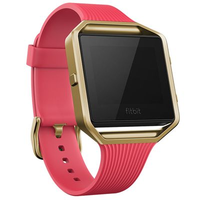 Fitbit Blaze Gold-Plated Large Slim Accessory Band - Pink - Angled