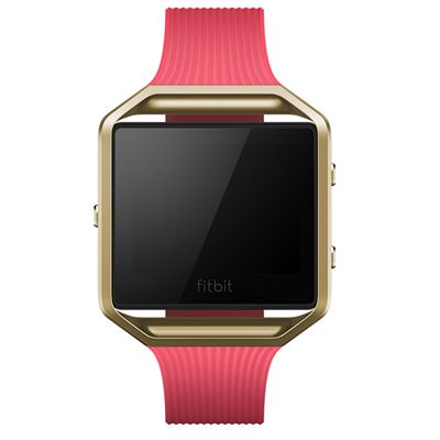 Fitbit Blaze Gold-Plated Large Slim Accessory Band - Pink - Front