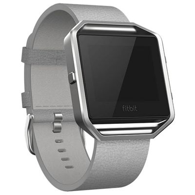 Fitbit Blaze Large Leather Accessory Band - Grey Angled