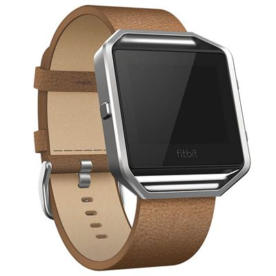 Fitbit Blaze Large Leather Accessory Band - Brown - Angled