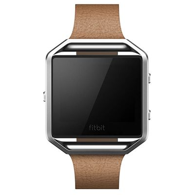 Fitbit Blaze Large Leather Accessory Band - Brown - Front