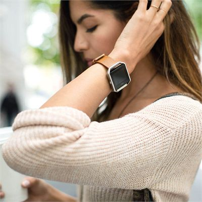 Fitbit Blaze Large Leather Accessory Band - Brown - Lifestyle