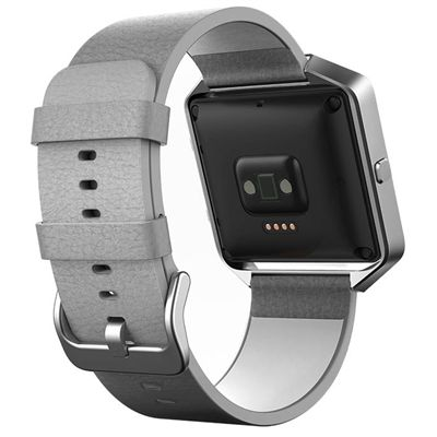 Fitbit Blaze Large Leather Accessory Band - Grey- Back