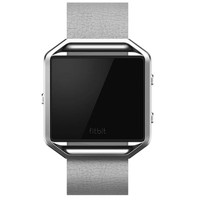 Fitbit Blaze Large Leather Accessory Band - Grey - Front