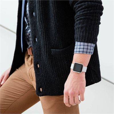 Fitbit Blaze Large Leather Accessory Band - Grey - Lifestyle