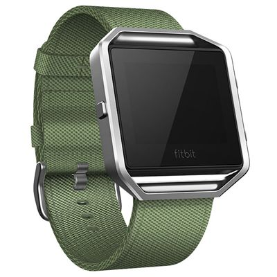 Fitbit Blaze Large Nylon Accessory Band - Green - Angled