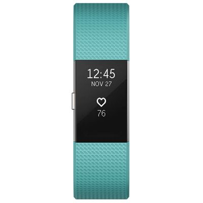 Fitbit Charge 2 Large Fitness Tracker with Heart Rate Sensor - Aqua - Front