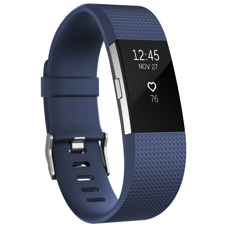 Fitbit Charge 2 Large Fitness Tracker with Heart Rate Sensor – Blue