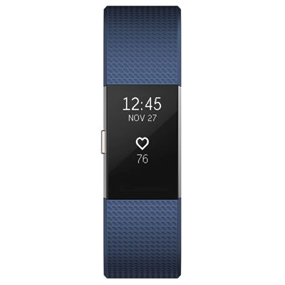 Fitbit Charge 2 Large Fitness Tracker with Heart Rate Sensor - Blue - Front