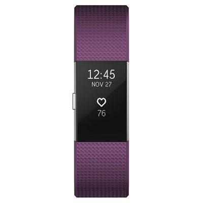 Fitbit Charge 2 Large Fitness Tracker with Heart Rate Sensor - Plum - Front