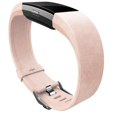 Fitbit Charge 2 Large Leather Accessory Band - Pink - Lifestyle - Angled