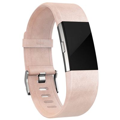 Fitbit Charge 2 Large Leather Accessory Band - Pink - Side