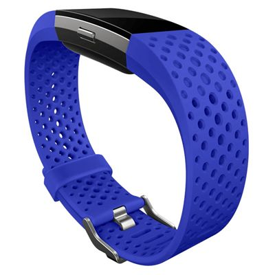 Fitbit Charge 2 Large Sport Accessory Band - Blue - In Use