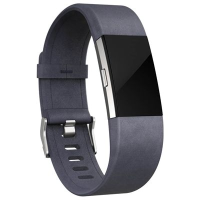 Fitbit Charge 2 Small Leather Accessory Band - Indigo -Angled