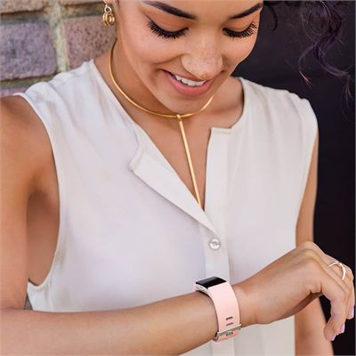 Fitbit Charge 2 Small Leather Accessory Band - Pink - Lifestyle