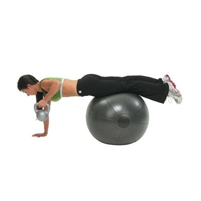 Fitness Mad 7.5kg PVC Kettlebell In Use Image 1