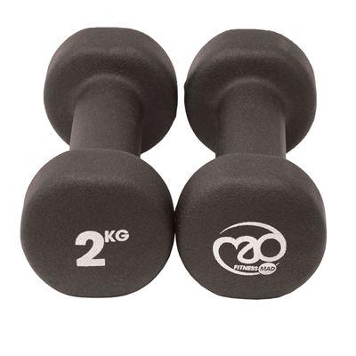 Fitness Mad Black Neoprene Dumbbells - 2kg d