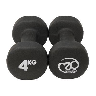 Fitness Mad Black Neoprene Dumbbells - 4kg d
