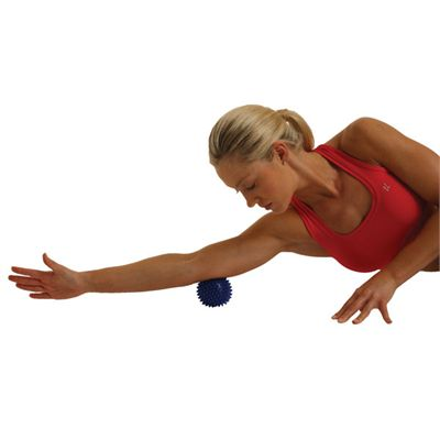Fitness Mad Spikey Massage Ball Small In Use Image