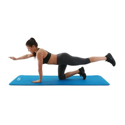 Fitness Mad Stretch Fitness Mat - Blue - In Use