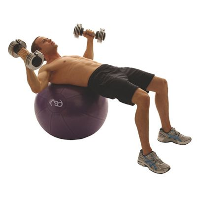 Fitness Mad Studio Pro 500Kg Swiss Ball and Pump - 75cm - In Use Image