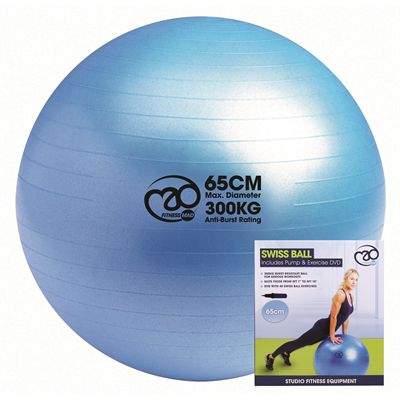 Fitness Mad Swiss Ball 300kg Pump and DVD - 65cm