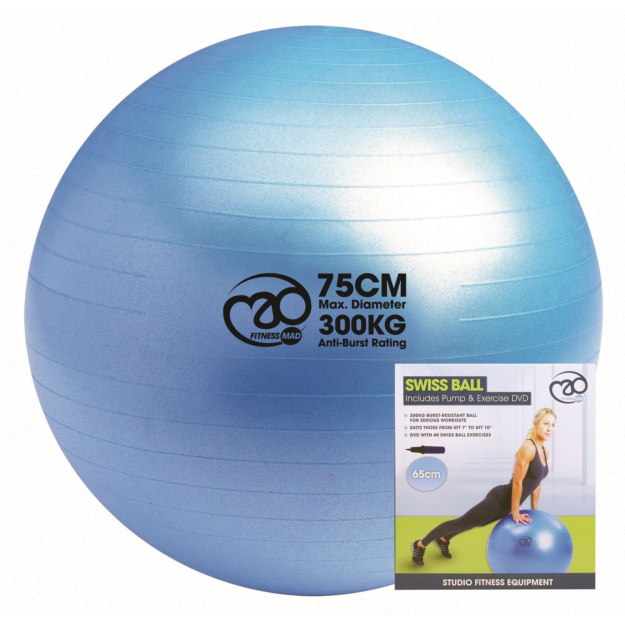 Balance Ball Dvd: Fitness Mad Swiss Ball 300kg, Pump And DVD