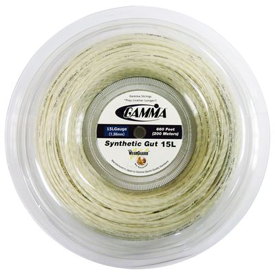 Gamma Synthetic Gut 1.38mm Tennis String 200m Reel-White