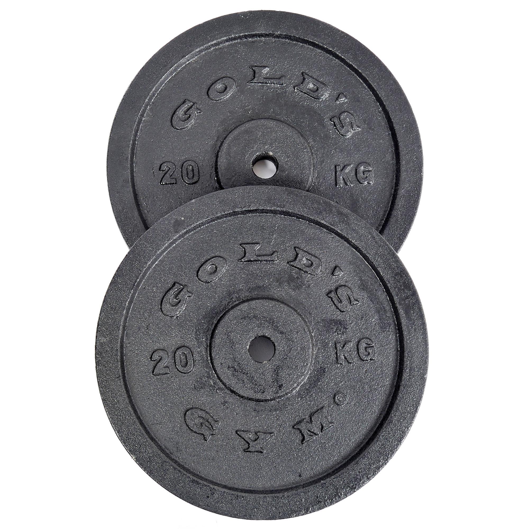 Fitness Equipment Golds Gym 2 x 20kg Cast Iron Standard Weight Plates