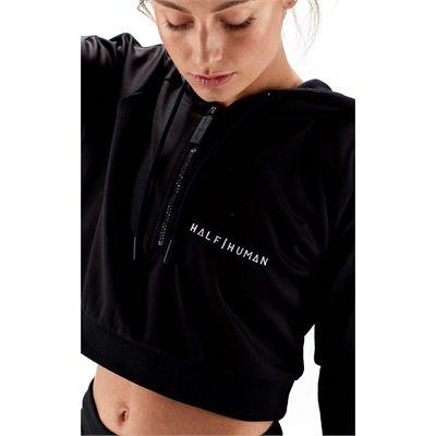 Half Human Ladies Cropped Poly Tracksuit Hoodie - Logo