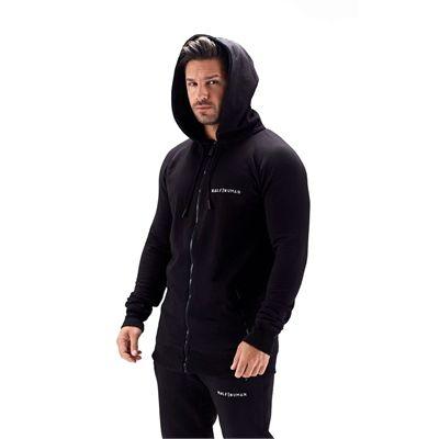 Half Human Mens Zip Hoodie - Model - Angle