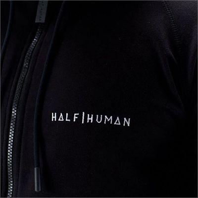 Half Human Mens Zip Hoodie - Model - Zoom