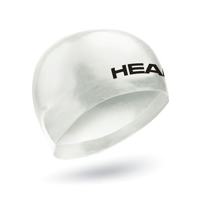 Head 3D Racing Swimming Cap Size L - White