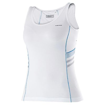 Head Club Tank Ladies Sleeveless Top-White and Blue