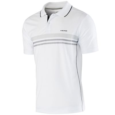 Head Club Technical Mens Polo Shirt-White and Black
