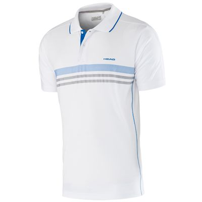 Head Club Technical Mens Polo Shirt-White and Blue