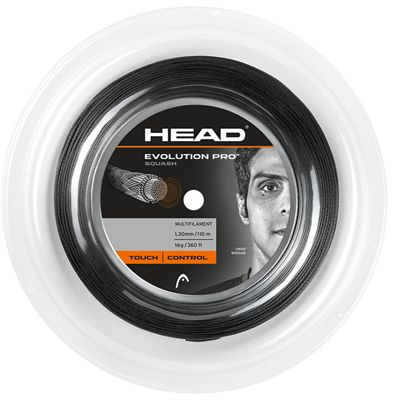 Head Evolution Pro Squash String - 110m Reel - Black
