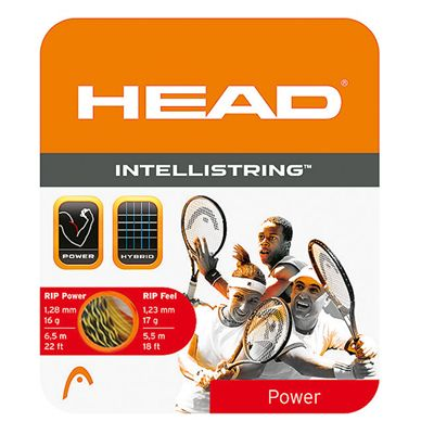 Head Intellistring Hybrid Tennis String Set Yellow Black Spiral
