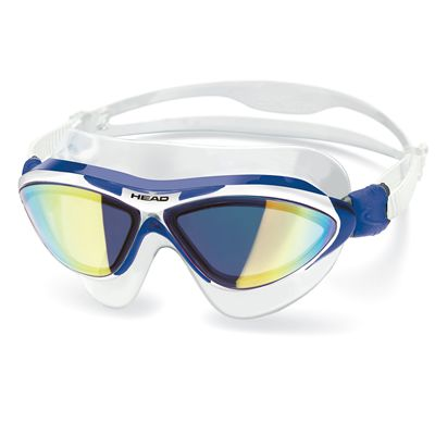 Head Jaguar Mirrored LiquidSkin Swimming Mask - Blue White Frame Blue Lenses