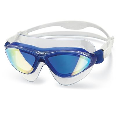 Head Jaguar Mirrored LiquidSkin Swimming Mask - Clear Blue Frame Blue Lenses