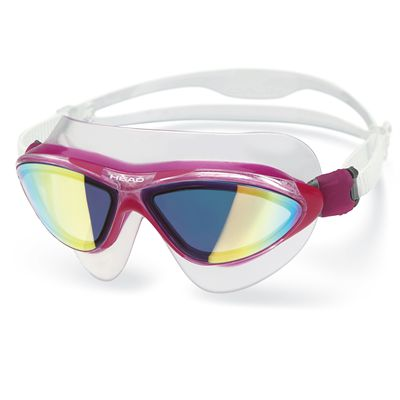 Head Jaguar Mirrored LiquidSkin Swimming Mask - Clear Magenta Frame Smokie Lenses