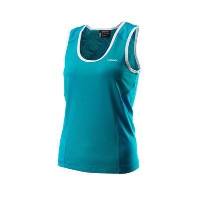 Head Orbit Ladies Sleeveless Shirt Turquoise White