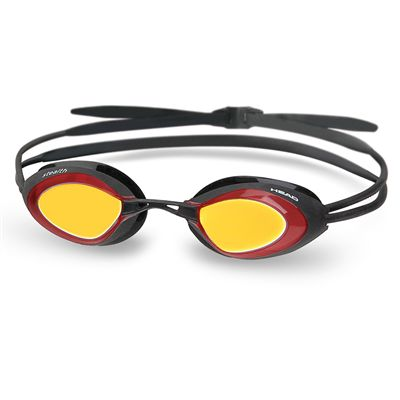 Head Stealth LSR Mirrored Swimming Goggles-Black and Red