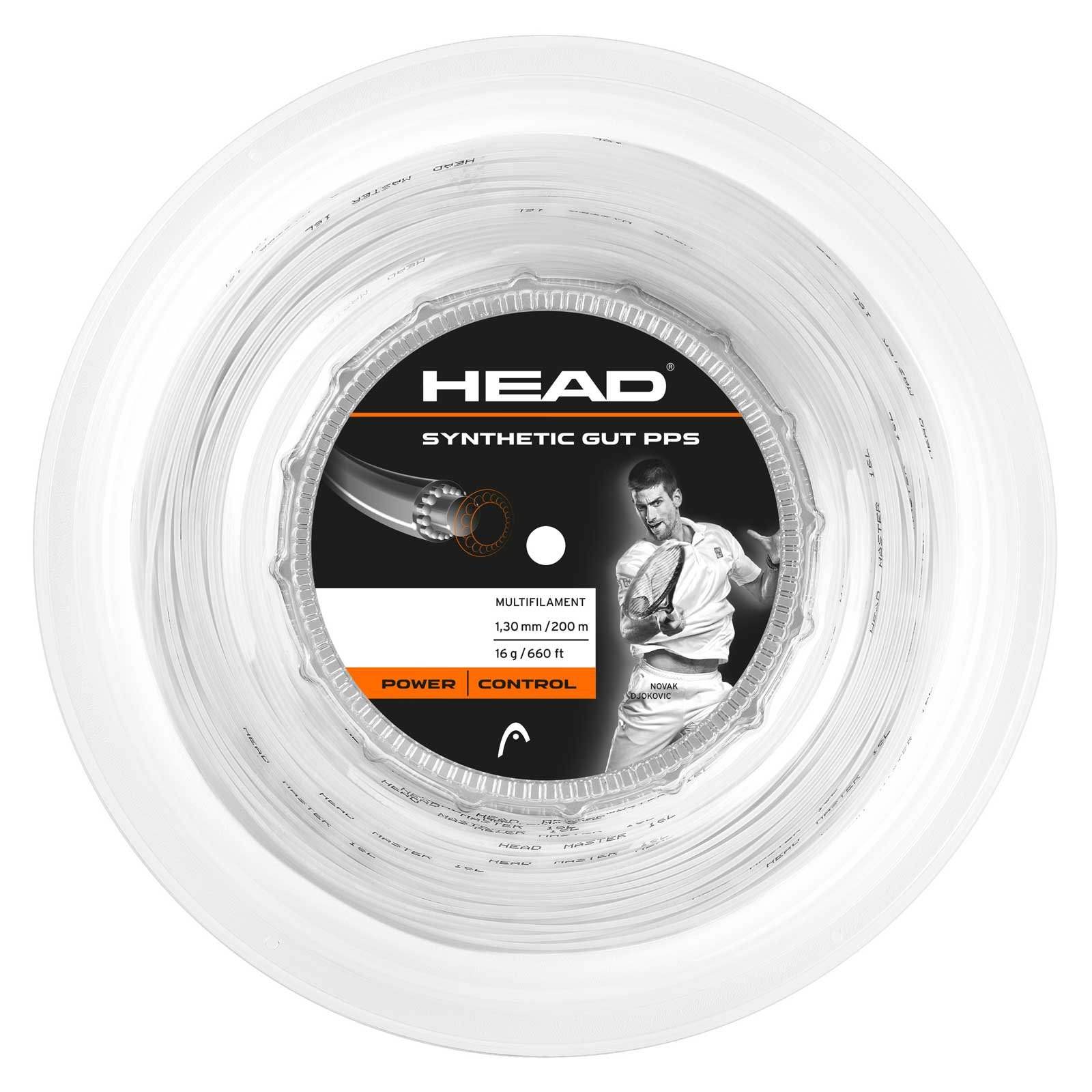 Head Synthetic Gut 16 String 200m - White